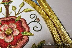 Mission Rose Silk and Goldwork Embroidery Project  http://www.needlenthread.com/2014/01/mission-rose-finished-and-some-extra-notes.html