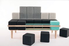 Bloc'd Sofa by Scott Jones: time to play Tetris with this modular seating solution :-)