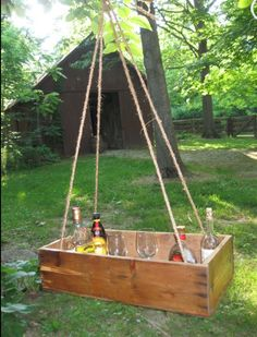 A floating bar using a crate...perfect for summertime parties!