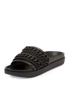 Shiloh Chain-Trim Slide Sandal