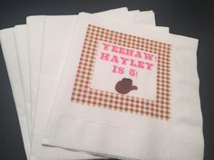 Set of 25 Personalized Cowgirl Yeehaw Pink Turquoise Brown Plaid Birthday Cocktail Napkins by SparkleandSparrow on Etsy https://www.etsy.com/listing/494178456/set-of-25-personalized-cowgirl-yeehaw