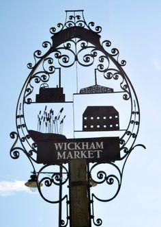 The Village sign of Wickham Market,in Suffolk, England.