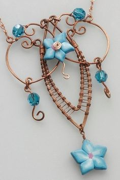 #artfire Copper necklace- Wire wrapped with turquoise polymer beads and swarovski crystals. WOW