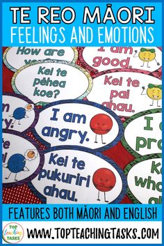 Brighten up your classroom while teaching Te Reo with these Te Reo Maori Feelings and Emotions Posters. These ink-friendly posters come in both English Primary Classroom, Classroom Decor, Classroom Resources, Feelings And Emotions, Teaching Materials, My Teacher, Literacy, Activities For Kids, I Am Awesome