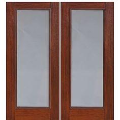 GlassCraft Full Lite-2 Full Lite Privacy and Clear, Cherry Wood Grain Fiberglass Double Entry Door at Doors4Home.com Room Doors, Double Entry Doors, Clear Glass, Bathroom Doors, Living Room Door, Fiberglass, Fiberglass Door, Cherry Wood, House Front