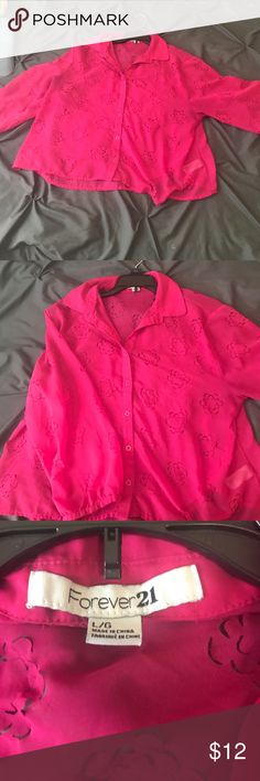 Hot pink collard button up top Hot pink collard button up top! It's sheer with flower cut outs! Super cute with high waisted shorts or a skirt Forever 21 Tops Blouses