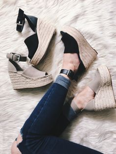 My favorite tops and jeans on sale + Marc Fisher Wedges Look for Less! Peep Toe Wedges, Wedge Sandals, Wedge Shoes, Toe Shoes, Sandal Heels, Sport Sandals, Leather Sandals, Shoes Sneakers, Marc Fisher Wedges