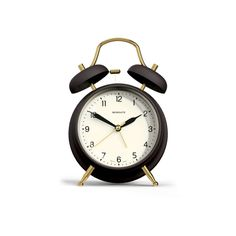 The Brass Knocker Alarm Clock in Chocolate Brown by Newgate Clocks.  A classic twin bell alarm with mid century styling. Dark matte cases in deep heritage colours are paired with contrasting brass details.  Iconic British design | www.newgateclocks.com  #homeware #decor #interior #homeaccesory