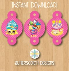 Shopkins Birthday Straw Toppers INSTANT by ButterscotchDesign