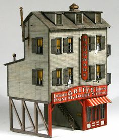 Vilius's scale modeling endeavors: Project Update: Gritty McDuff's by Bar Mills Ho Scale Buildings, Ho Scale Trains, Ho Trains, Model Trains, Model Building, Building Plans, Building A House, Ho Train Layouts, Garden Railroad