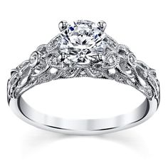 Peter Lam Luxury Royal Lace 14K White Gold Diamond Engagement Ring Setting