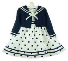 img src=http://site.grammies-attic.com/images/blue-sold-1.gif NEW Rare Editions Off-White and Navy Dotted Dress with Navy Sailor Jacket $60.00