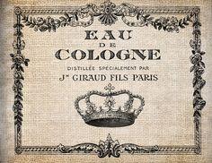 Antique Crown Paris Perfume Label Digital Download for Dictionary Pages, Papercrafts, Transfer, Pillows, etc.Burlap No 7723. $1.00, via Etsy.