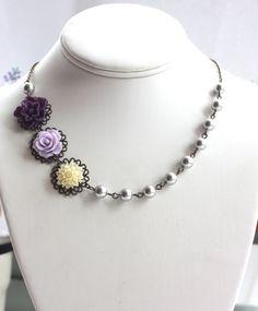 Purple Flower Necklace. Purple Lilac Ivory Grey Pearls by Marolsha