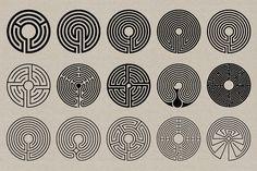 Labyrinth Stamps - Vector & PNG by Offset on Labyrinth Tattoo, Labyrinth Maze, Maze Tattoo, Design Art, Graphic Design, Design Bundles, Sacred Geometry, Stamp, Illustration
