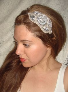 Headband- ROYALE SILVER, Rhinestone Headband,  Headband, Bridal Headpiece, Wedding, Bridal Headband,  Accessories, Sequin Headband. $26.00, via Etsy.