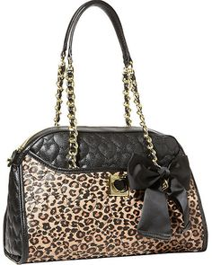 Betsey Johnson BJ25515 Be My Wonderful DOME SATCHEL! LEOPARD Quilted hearts, Bow #BetseyJohnson #SatchelDomeSatchel