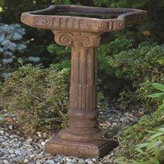 One Piece Distressed Cast Stone Fluted Bird Bath #birdbath #garden #birds #home #outdoor #decor #traditional #stone #wildlife