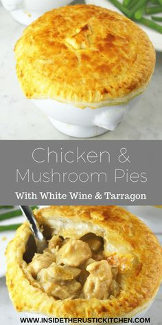Try this recipe for Chicken and Mushroom Pies for a deliciously comforting weekday meal this winter. They are so simple and taste incredible. Empanadas, Pastry Recipes, Cooking Recipes, Mini Pie Recipes, Pastry Dishes, Fall Recipes, Chicken And Mushroom Pie, Savory Pastry, Savoury Pies