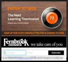 Email acquisition pop-up running on Fernbrook Homes site. Contest Rules, Your Name, Enter To Win, Up And Running, Take Care Of Yourself, Names, Pop, Popular, Pop Music