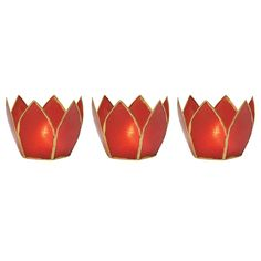 Capiz Lotus Candle Holders (2.25-Inch, Red, Gold-Edged, Set of 3) - For Use with Tea Lights - For Home Decor, Parties, and Wedding Decorations | Luna Bazaar