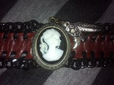 Bohemian cameo red and black charm bracelet with by foreverkatydid, $21.95