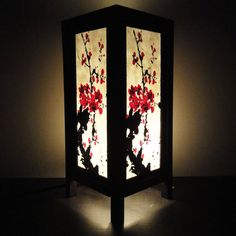 Asian Oriental Japanese Sakura Tree Branch Cherry Blossom Art Bedside Table Lamp or Bedside Wood Paper Light Shades Furniture Home Decor. $15.97, via Etsy.