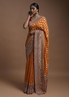 Pumpkin Orange Banarsi Saree In Georgette With Weaved Floral Mesh And Floral Jaal On The Red Pallu Online - Kalki Fashion Indian Bridal Outfits, Indian Designer Outfits, Pakistani Outfits, Indian Dresses, Engagement Dress For Bride, Engagement Saree, Pakistani Engagement Dresses, Silk Saree Banarasi, Sari Dress
