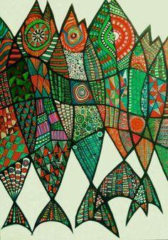 Harvest Festival/ Ven' works acrylic on the canvas Fabric Painting, Painting & Drawing, Fish Design, Indigenous Art, Fish Art, Aboriginal Art, Art Club, Art Plastique, Pattern Art
