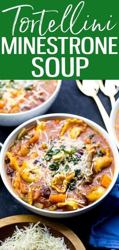 This 30-Minute Tortellini Minestrone Soup is a filling, high-fibe vegetarian dinner that comes together quickly for those busy weeknights! #cheesetortellini #minestronesoup Best Soup Recipes, Chili Recipes, Slow Cooker Recipes, Slow Cooker Pressure Cooker, Crazy Kitchen, One Pot Dinners, Chili Soup, Cheese Tortellini, Soups And Stews