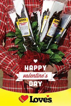 Beef Jerky Bouquet = clutch Valentines play by loves.com