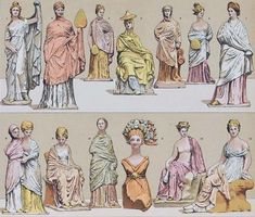 these are a fabulous collection of fashion drawings throughout history and across cultures. Greek Fashion, European Fashion, Female Fashion, Australian Online Shopping, Ancient Greek Costumes, Katies Fashion, French Hair, Period Costumes, Fashion Plates