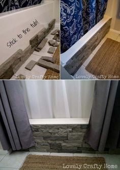 #4. Update your ugly built-in tub with faux stone.  - Top 21 Most Genius Ideas for Home Updates with Faux Stone