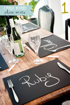 LOVE this. Chalkboard placemats, add colored chalk to the table, send home as favors.