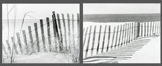 Set of 2 Black & White Dune Fence Canvas