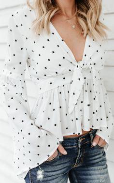 Deep V Neck Polka Dot blouses for women work blouses for women chic blouses for women casual blouses outfit cute blouses blouses for women work business casual Cheap Blouses, Cute Blouses, Shirt Blouses, Blouses For Women, Tie Blouse, Blouse Outfit, Polka Dot Blouse, Polka Dots, Led Zeppelin T Shirt