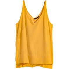 Ärmlös satintopp 99 (315 MXN) ❤ liked on Polyvore featuring tops, shirts, tank tops, tanks, satin tank top, satin tank, slit tops, h&m tank tops and yellow tank