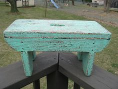 Primitive Folky Painted Step Stool Foot Stool Bench | eBay