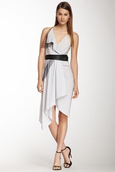 cut25 by Yigal Azrouel Sleeveless Leather Trim Dress