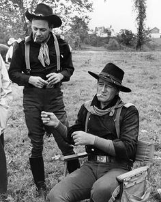 """John Wayne and William Holden, during the filming of """"The Ho.- John Wayne and William Holden, during the filming of """"The Horse Soldiers. John Wayne and William Holden, during the filming of """"The Horse Soldiers. Hollywood Stars, Hollywood Men, Classic Hollywood, Hollywood Actresses, John Wayne Quotes, John Wayne Movies, Classic Movie Stars, Classic Movies, Film Icon"""