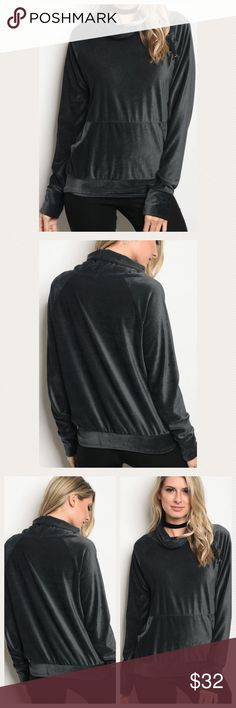 Charcoal Velvet LaceUp Shoulder Pullover So excited to get this one in! Gorgeous and luxurious ribbed velvet pullover with a cowl neck and lace-up detail on front of one shoulder. Front pouch. 96% poly, 4% spandex. Comes NWOT. Made in USA! Excellent quality. More photos coming Tops