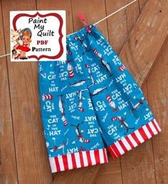 """Pants Pattern PDF , Boys and Girls Simple Cuffed Pants Pattern  Easy Sewing Tutorial PDF sizes 6m through to 8 years """"Cooper Pants"""". $4.50, via Etsy."""