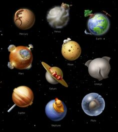 6 planets in our solar system have natural satellites moons only solar system icons by denis sazhin via behance haha so cute publicscrutiny Choice Image