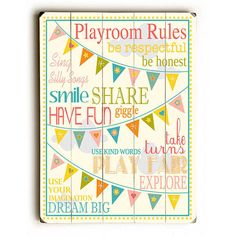 Playroom Rules by Artist Finny And Zook Wood Sign