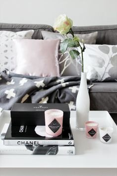Ma Maison Blanche - Hay Tray Table, Meadows scented candles and fashion books