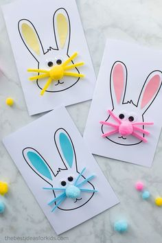 An easy Easter bunny card for kids to make. Two free printable templates to make different designs - a silhouette card or an Easter bunny face card. Easter Bunny Card Craft - easy Easter craft for kids Easy Easter Crafts, Bunny Crafts, Paper Crafts For Kids, Easy Crafts, Easter Ideas, Summer Crafts, Diy Easter Cards, Easter Crafts For Toddlers, Decor Crafts