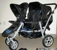 Blue and Black Triple Trio Tandem Baby Jogger Stroller with Rain Canopy - Free Matching Carry Bag by Stroller Safe Technologies, http://www.amazon.com/dp/B00CCTFBNI/ref=cm_sw_r_pi_dp_MiPUrb1P0RV2P