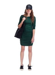 Ruched Jersey Dress in Green | BAUKJEN - now available in six different colours, it's obviously popular! Lovely with a longline cardi, a nice scarf, biker jacket, heels or biker boots. Super versatile. £79 (though Baujken has 15% off first order offer).
