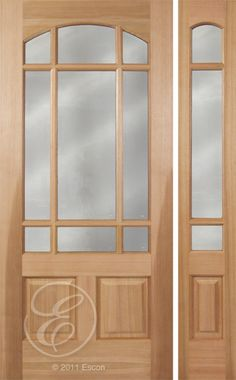 Exterior Pacific Cherry 2 Panel Bottom half lite with Marginal Grids Dual Pane Clear glass [M329DGB-E]