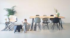 Nice setting! Studio H&K Butterfly dining table | Vitra Eames DSR DSW | Hay AAC | Studio H&K | Design Eettafels Stoelen Kasten Barkrukken Krukken Butterfly Salontafels Eikenhout Staal | Design Dining Tables Chairs Cabinets Stools Coffee Tables Oak Wood Steel | www.studio-henk.nl | Vitra DAR DSW DSR DKR Wire Chair